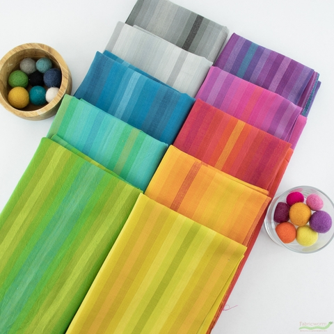 Alison Glass for Andover, Kaleidoscope Stripes & Plaids, All The Stripes Bundle 10 Total