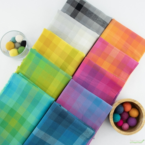 Alison Glass for Andover, Kaleidoscope Stripes & Plaids, Plaid Teal