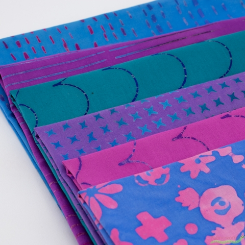 Alison Glass for Andover, Stitched, Floral Periwinkle