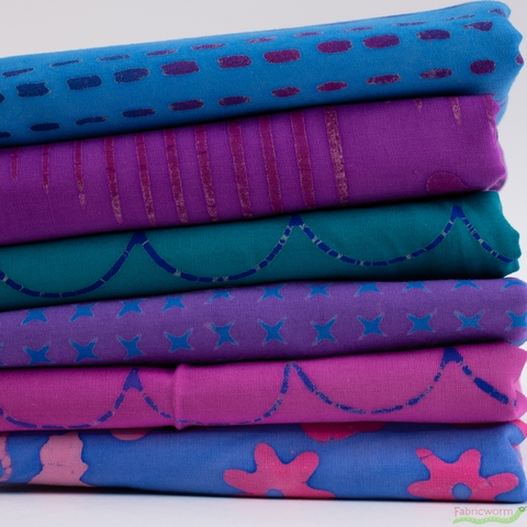 Alison Glass for Andover, Stitched, Running Stitch Cobalt