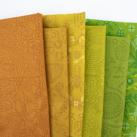 Alison Glass for Andover, Sun Print 2020, Earth in FAT QUARTERS 6 Total