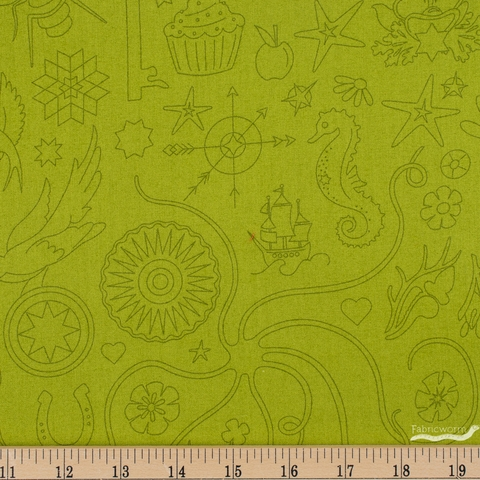 Alison Glass for Andover, Sun Print 2020, Embroidery Olive