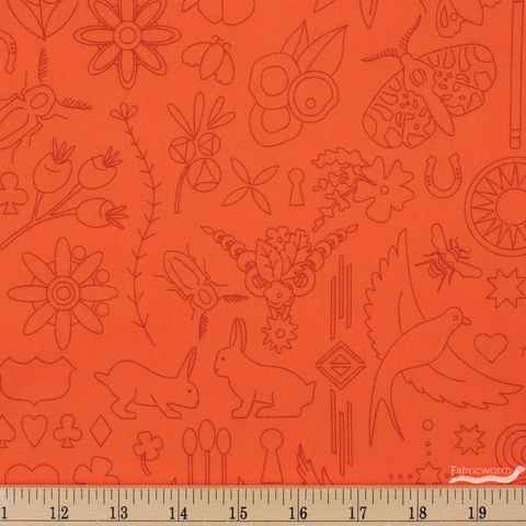 Alison Glass for Andover, Sun Print 2020, Embroidery Pumpkin