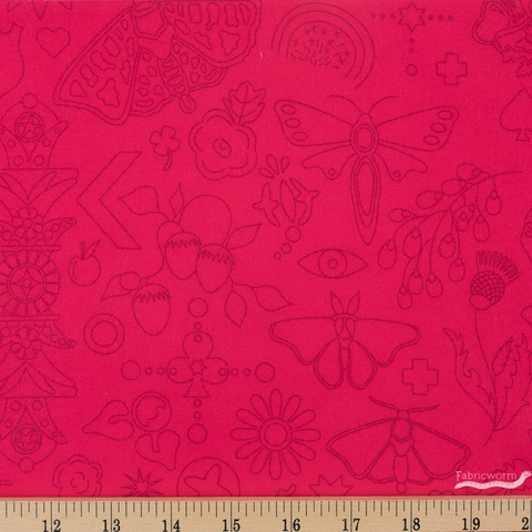 Alison Glass for Andover, Sun Print 2020, Embroidery Strawberry