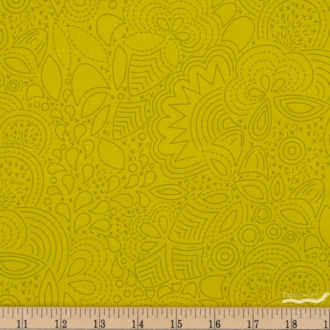 Alison Glass for Andover, Sun Print 2020, Stitched Chartreuse