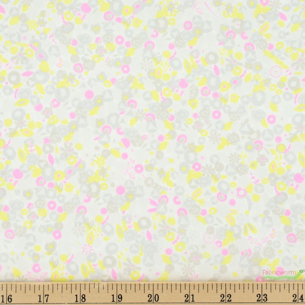 Andover A-8138-E Polka Dot Fabric Magenta Pink Fabric Yellow Polka Dots Sold by Half Yard Alison Glass Sun Print 2016 Sphere in Ruby
