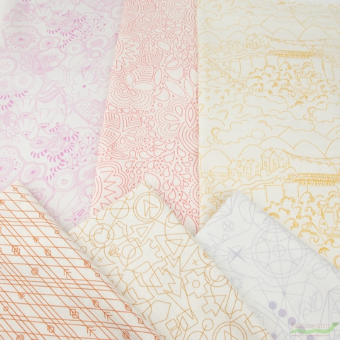 Alison Glass for Andover, Sun Print Light, Flower in FAT QUARTERS 6 Total