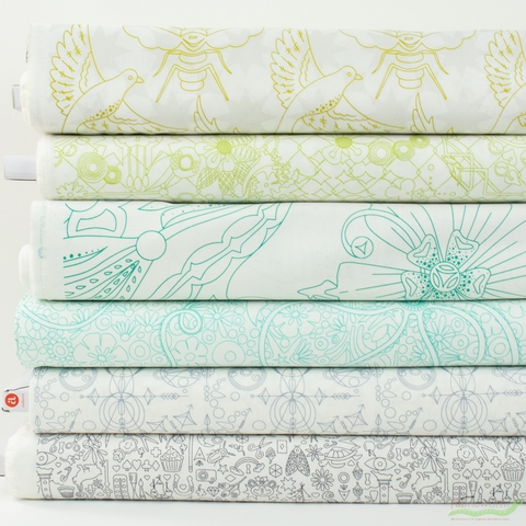 Alison Glass for Andover, Sun Print Light, Island in FAT QUARTERS 6 Total