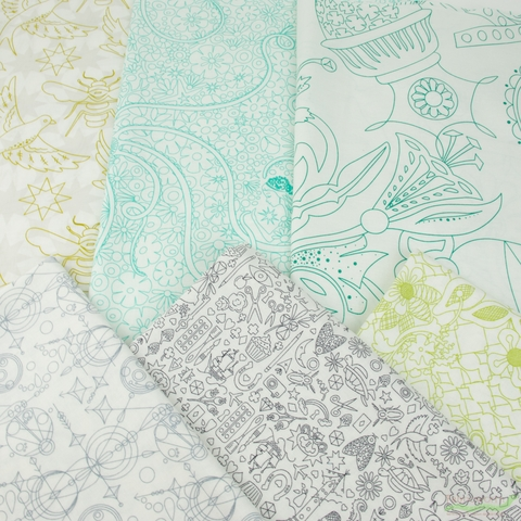 Alison Glass for Andover, Sun Print Light, Island in HALF YARDS 6 Total