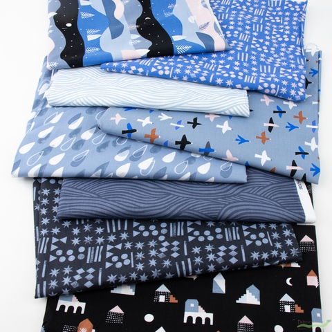 Amy Van Luijk for FIGO, Moonlit Voyage, Blue in FAT QUARTERS 8 Total