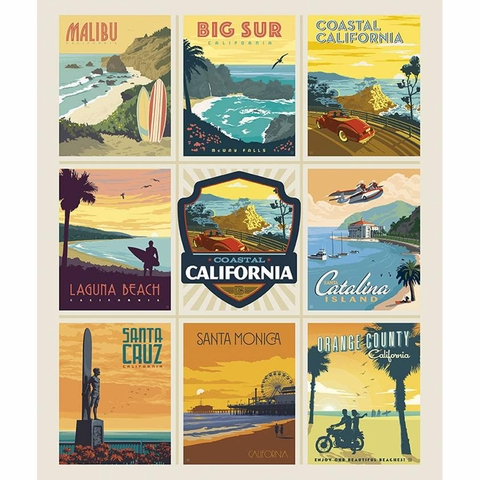 """Anderson Design Group for Riley Blake, Destinations, California Beaches Poster (36"""" Panel)"""