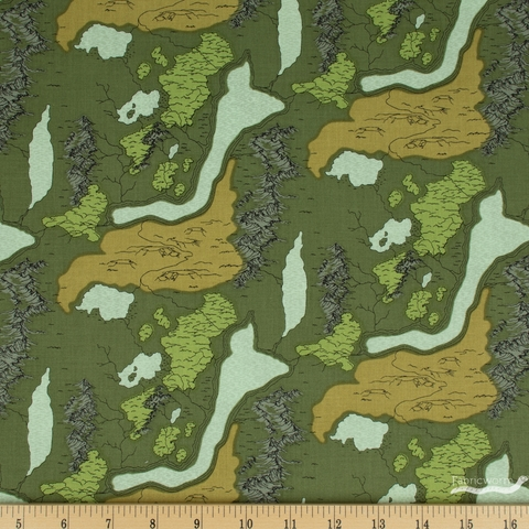Anderson Design Group for Riley Blake, National Parks, Map Green