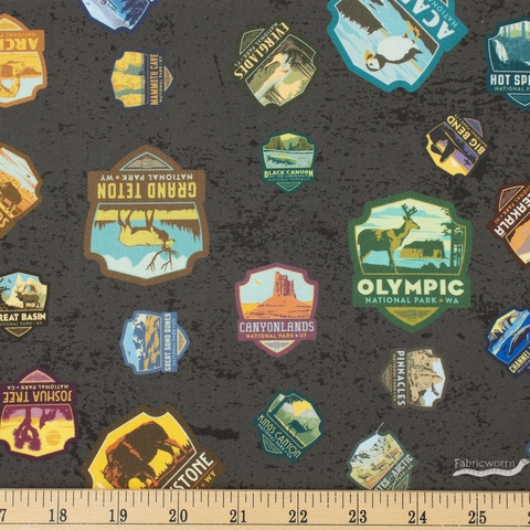 Anderson Design Group for Riley Blake, National Parks, Patches Black