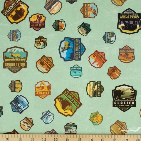 Anderson Design Group for Riley Blake, National Parks, Patches Sea Green