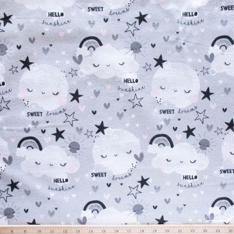 Angela Nickeas for 3 Wishes, Don't Forget to Dream Flannel, Allover Moon Gray