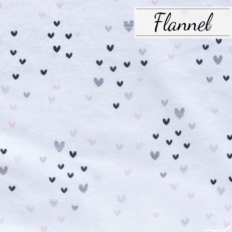 Angela Nickeas for 3 Wishes, Don't Forget to Dream Flannel, Hearts White