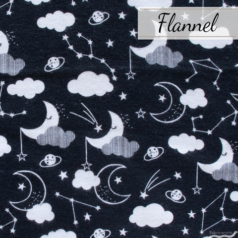 Angela Nickeas for 3 Wishes, Don't Forget to Dream Flannel, Night Sky Black