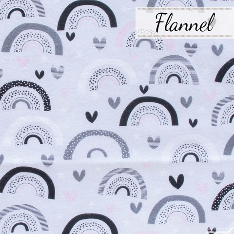 Angela Nickeas for 3 Wishes, Don't Forget to Dream Flannel, Rainbow Hearts Gray