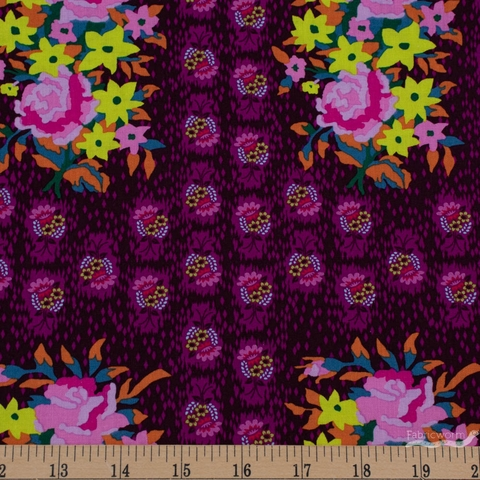 Anna Maria Horner for Free Spirit, Hindsight, Stitched Bouquet Eggplant