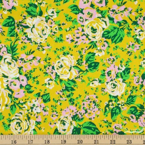 Annabel Wrigley for Windham, Posy, Bright Big Roses Olive