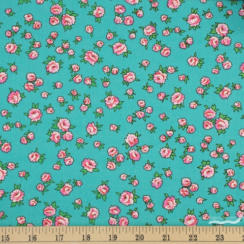 Annabel Wrigley for Windham, Posy, Little Roses Turquoise