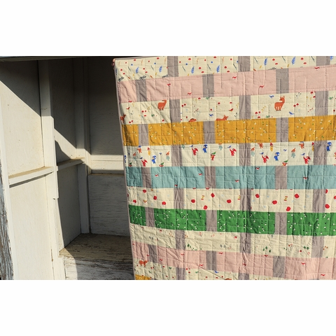 Apple Basket Quilt Kit Featuring Whistle from Birch Organic Fabrics (PRECUT)