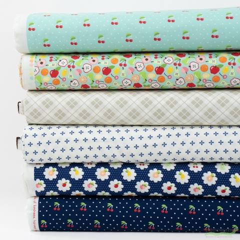 April Rosenthal for Moda, Orchard, Blueberry in HALF YARDS 6 Total