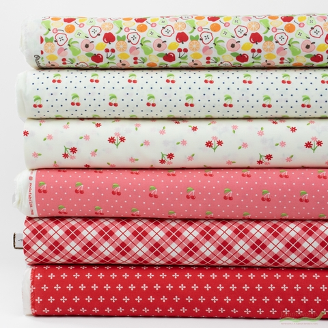 April Rosenthal for Moda, Orchard, Cherry in FAT QUARTERS 6 Total