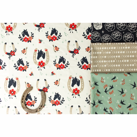 Arleen Hillyer for Birch Organic Fabrics, Tall Tales, Buttermilk Cream