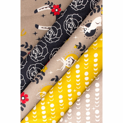 Arleen Hillyer for Birch Organic Fabrics, Tall Tales, CANVAS, Moon Phase Marigold