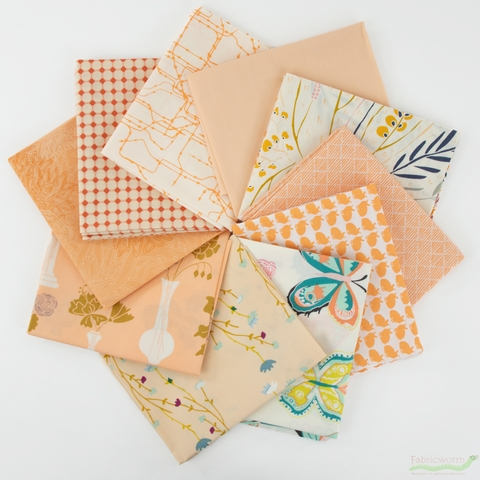 Art Gallery Fabrics, PRE-CUT Color Master, No. 4 Quite Peachy in FAT QUARTERS 10 Total