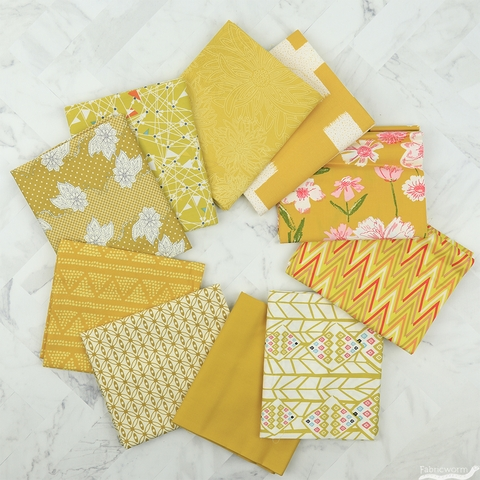 Art Gallery Fabrics, PRE-CUT Color Master, No. 5 Gold Leaf in FAT QUARTERS 10 Total