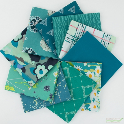 Art Gallery Fabrics, PRE-CUT Color Master, No. 8 Teal Thoughts in FAT QUARTERS 10 Total