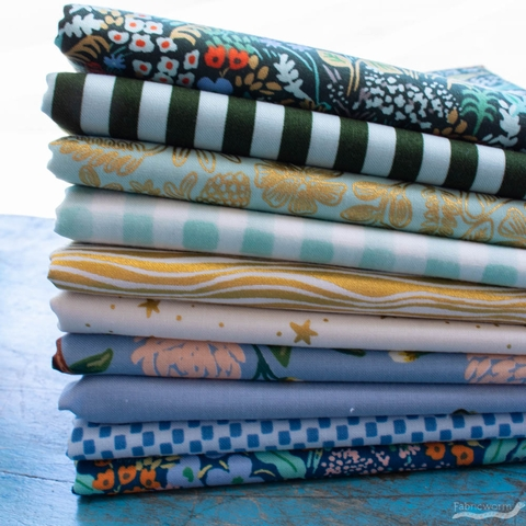 Assorted Rifle Paper Co. Custom Bundle, Golden Garden 10 Precut Fat Quarters