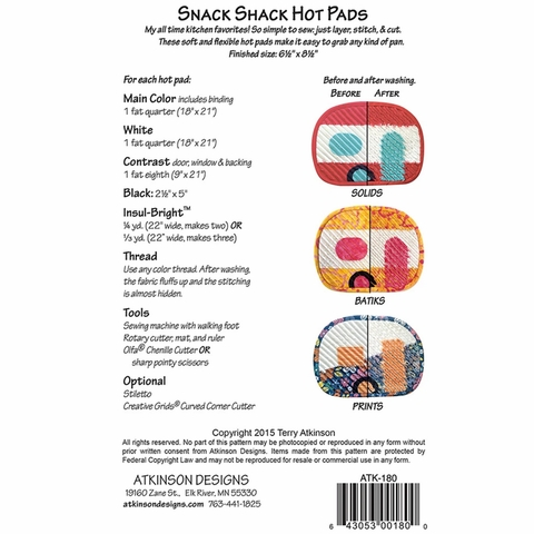 Atkinson Designs, Sewing Pattern, Snack Shack Hot Pads