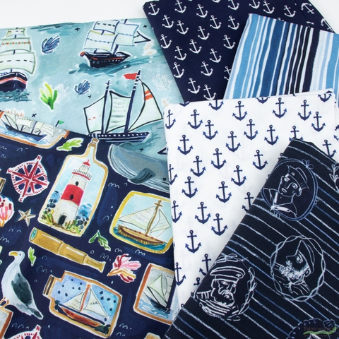August Wren for Dear Stella, High Seas, Seaward in FAT QUARTERS 6 Total
