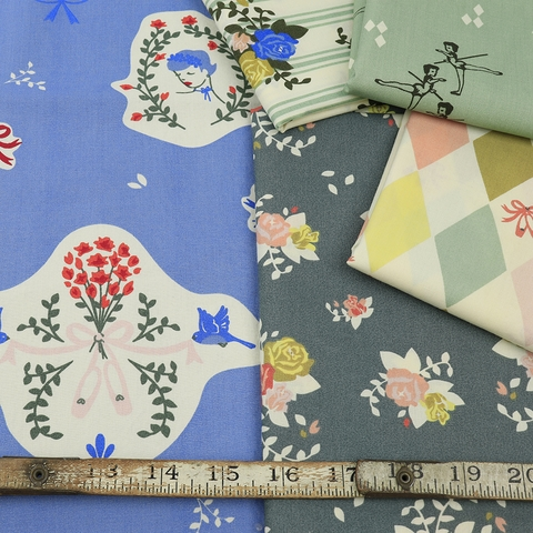 Arleen Hillyer for Birch Organic Fabrics, Pirouette in FAT QUARTERS 10 Total