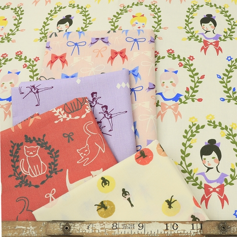 AVAILABLE FOR PREORDER, Arleen Hillyer for Birch Organic Fabrics, Pirouette in FAT QUARTERS 10 Total