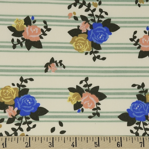 Arleen Hillyer for Birch Organic Fabrics, Pirouette, Rosette Stripes
