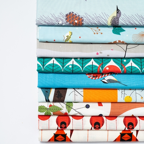 AVAILABLE FOR PREORDER, Charley Harper for Birch Organic Fabrics, Winter Wonderland, Backyard Birds