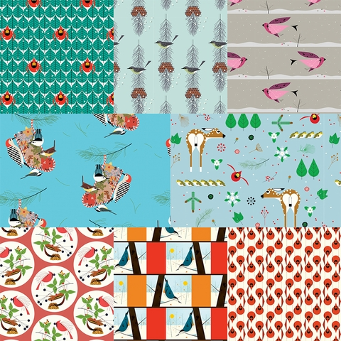 AVAILABLE FOR PREORDER, Charley Harper for Birch Organic Fabrics, Winter Wonderland in FAT QUARTERS 8 Total