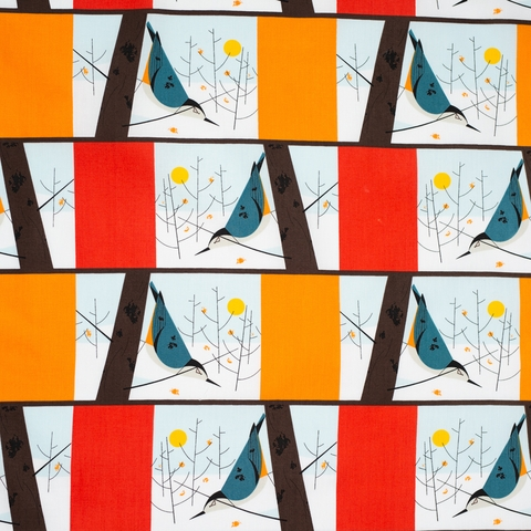 AVAILABLE FOR PREORDER, Charley Harper for Birch Organic Fabrics, Winter Wonderland, White Breasted Nuthatch