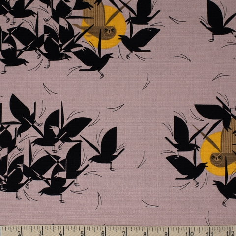 AVAILABLE FOR PREORDER, Charley Harper for Birch Organic Fabrics, BARKCLOTH, Owltercation