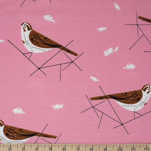 AVAILABLE FOR PREORDER, Charley Harper for Birch Organic Fabrics, BARKCLOTH, Song Sparrow