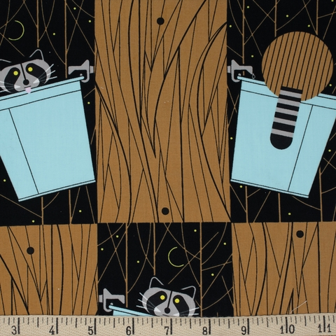 AVAILABLE FOR PREORDER, Charley Harper for Birch Organic Fabrics, Cats and Raccs, Basket Raccs