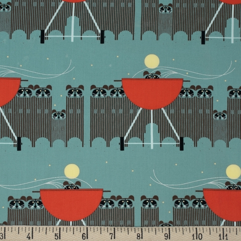 AVAILABLE FOR PREORDER, Charley Harper for Birch Organic Fabrics, Cats and Raccs, Big Racc Attack