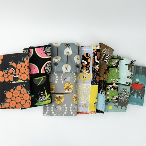 AVAILABLE FOR PREORDER, Charley Harper for Birch Organic Fabrics, Cats and Raccs, Cornprone