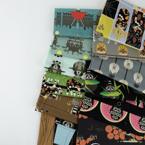 AVAILABLE FOR PREORDER, Charley Harper for Birch Organic Fabrics, Cats and Raccs in HALF YARDS 12 Total