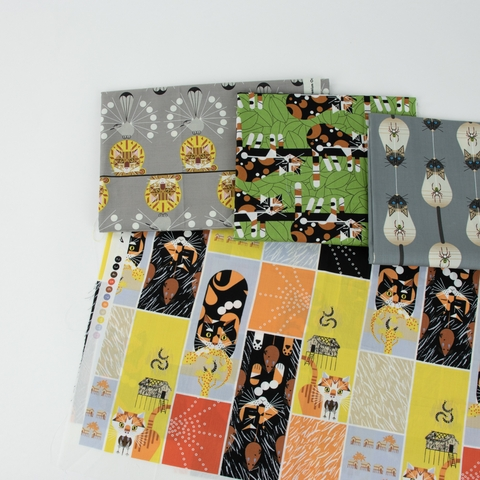 AVAILABLE FOR PREORDER, Charley Harper for Birch Organic Fabrics, Cats and Raccs, Limp On A Limb