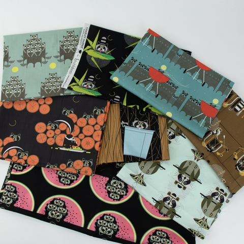 AVAILABLE FOR PREORDER, Charley Harper for Birch Organic Fabrics, Cats and Raccs, Raccpack